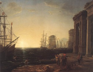 "Claude Lorrain's ""Harbour Scene at Sunset"""